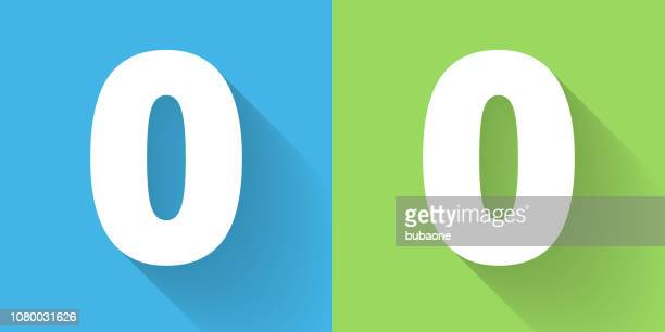 Number Zero Icon with Long Shadow