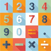 Numbers and Mathematical Flat Icons