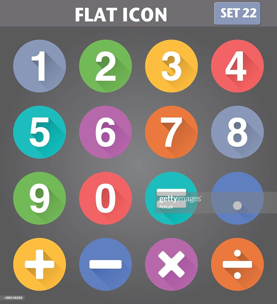 Numbers and Mathematical Icons set in flat style