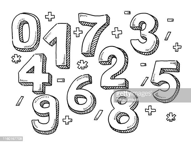 numbers and mathematical symbols drawing - number stock illustrations