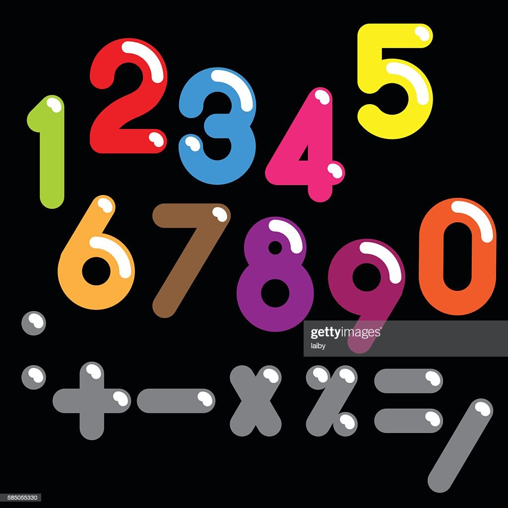 Numbers colorful set and symbols