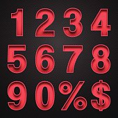 Numbers Design - Red Numbers on Carbon Fiber Background