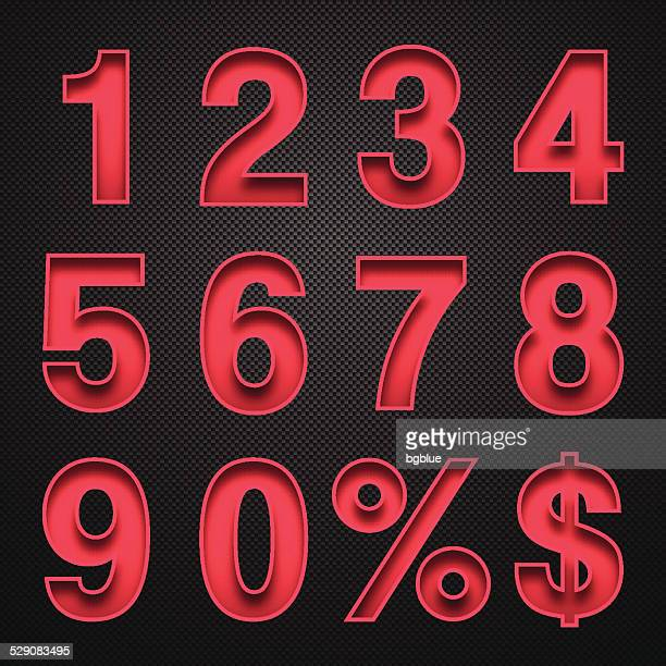 numbers design - red numbers on carbon fiber background - number stock illustrations