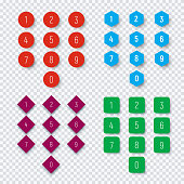 Numbers from 0 to 9 on a round, square, hexagonal and rhombic button.