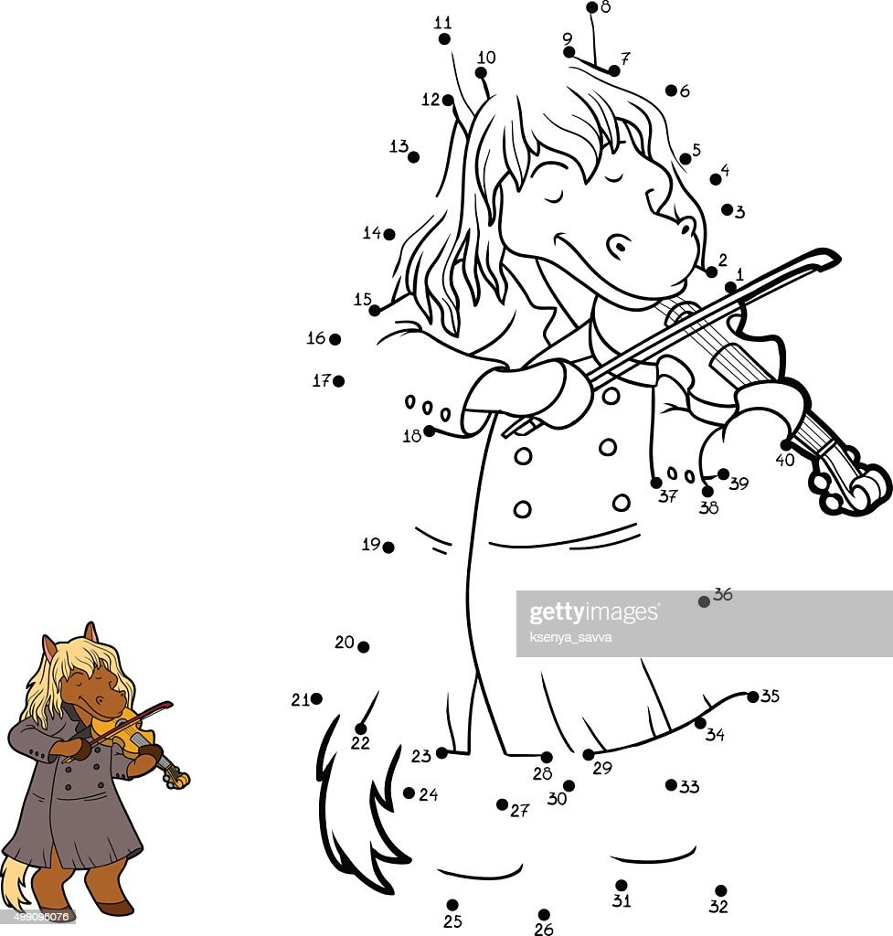 Numbers game for children: horse and violin