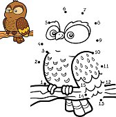 Numbers game for children. Little owl