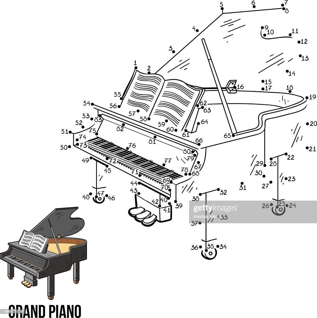 Numbers game for children: musical instruments (grand piano)