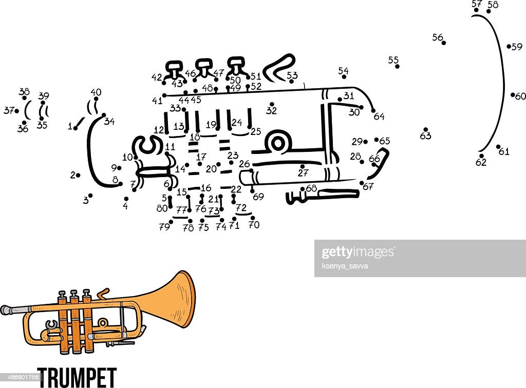 Numbers game for children: musical instruments (trumpet)