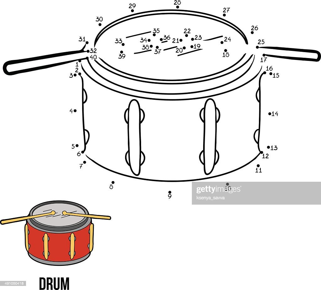Numbers game for children: musical instruments (drum)