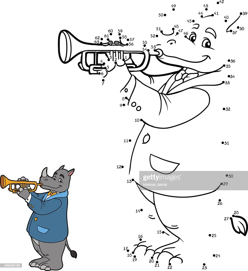 Numbers game for children: rhino and trumpet