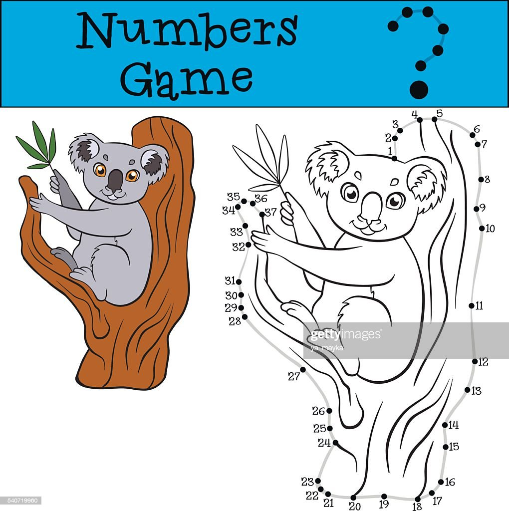 Numbers game with contour. Little cute koala