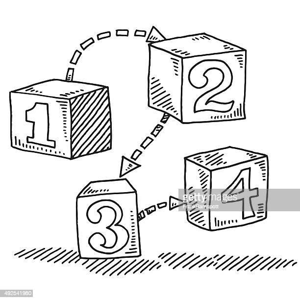 Ziffern auf den Würfeln Schritte Konzept Abbildung