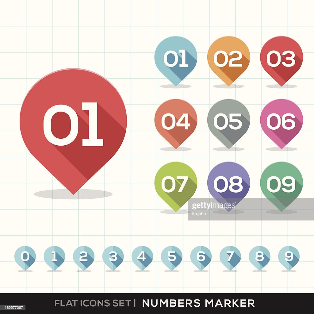 Numbers Pin Marker Flat Icons Set for GPS or Map