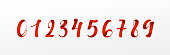 Numbers red font, ribbon style, typography vector illustration