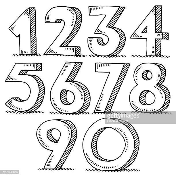 numbers set drawing - number 1 stock illustrations, clip art, cartoons, & icons
