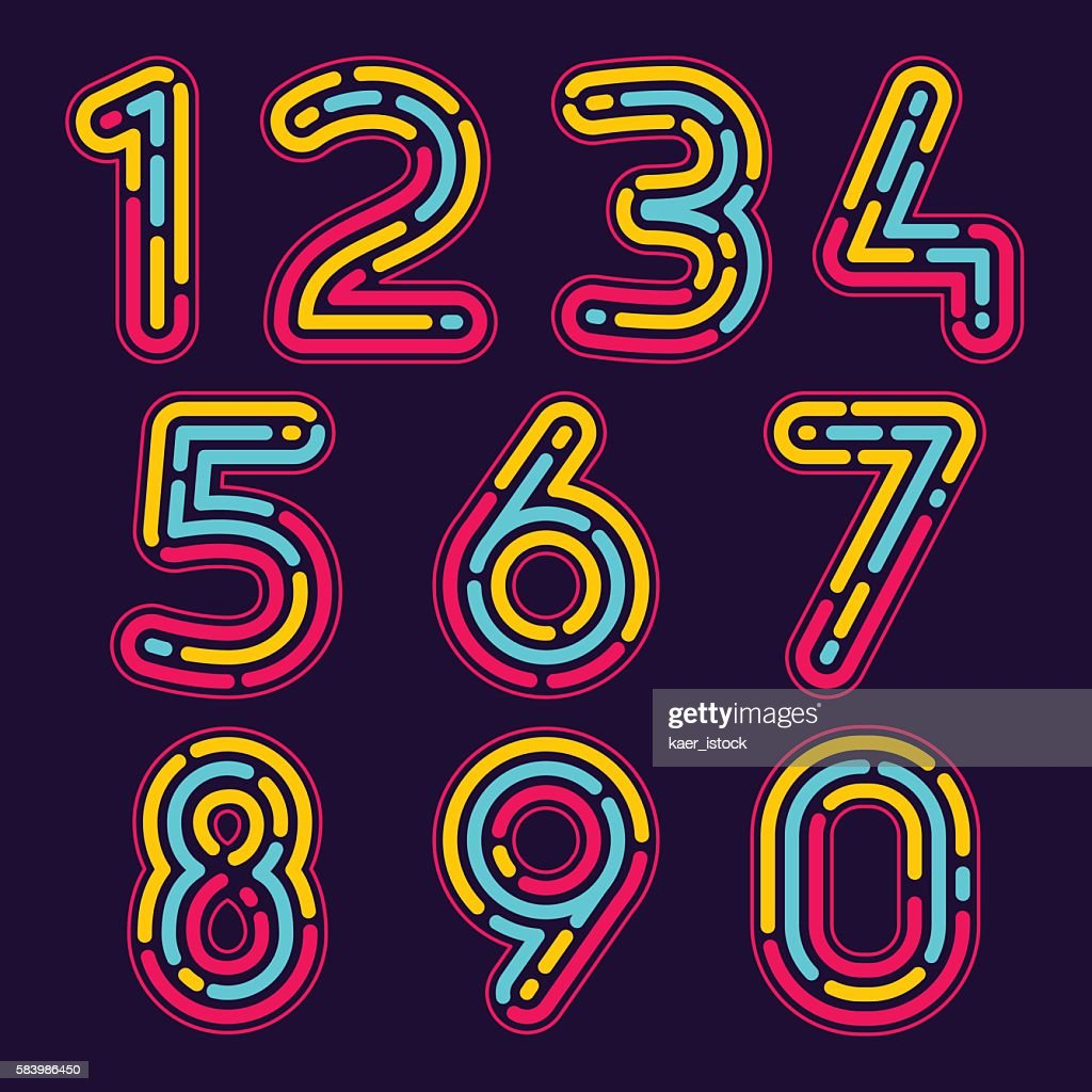 Numbers set icons formed by neon line or fingerprint.
