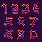 Numbers set icons with atoms orbits.