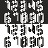 Numbers set isometric geometric shape, black and white creative idea hipster monogram digits form in the perspective. Collection of figures for wedding cards. Mathematical symbols 1, 2, 3, 4, 5, 6, 7, 8, 9, 0