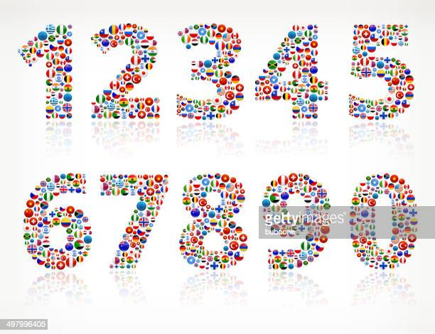 Numbers World Flags royalty free graphic