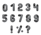 Numeral alphabeth. Black and White Number set. Isolated vector.