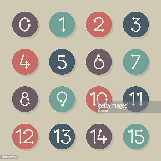 Numeric Arrow Icons - Color Circle Series
