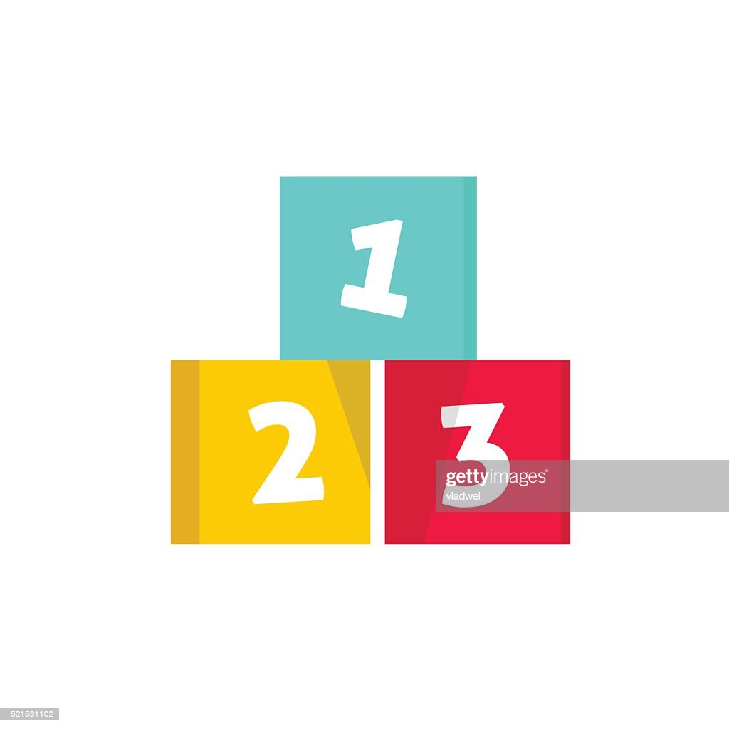 Numeric cubes vector illustration, building blocks with numbers