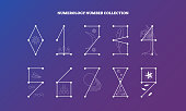 Numerology numbers with symbolic meaning design. vector illustration collection, esoteric knowledge numeral science.