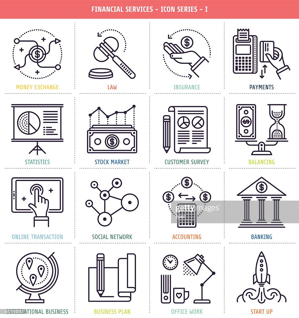 Numerous icons associated with financial services