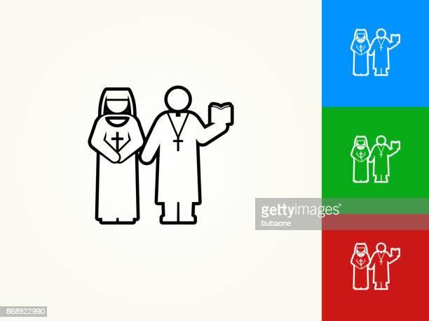 Nun and Priest Black Stroke Linear Icon
