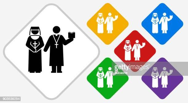Nun and Priest Color Diamond Vector Icon