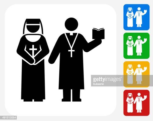 Nun and Priest Icon Flat Graphic Design