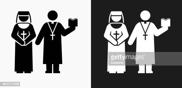 Nun and Priest Icon on Black and White Vector Backgrounds