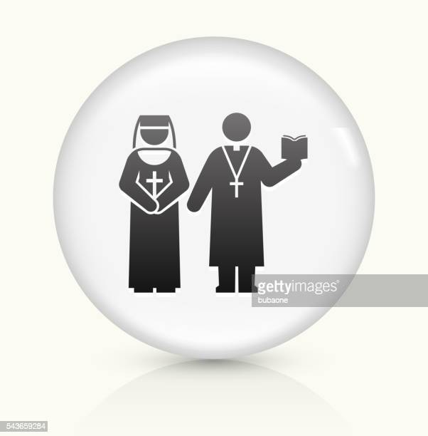 Nun and Priest icon on white round vector button