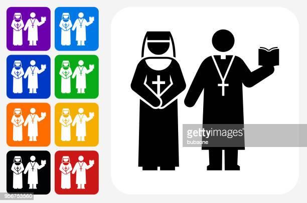 Nun and Priest Icon Square Button Set