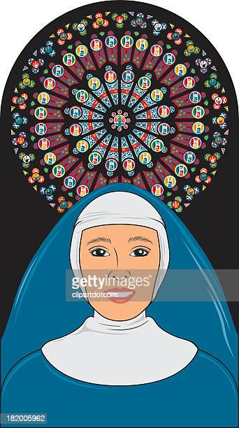 Nun And Stained Glass Window