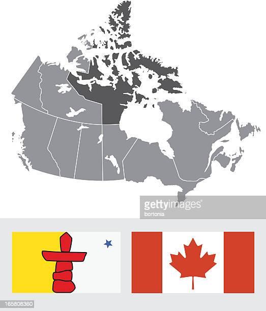 ilustrações, clipart, desenhos animados e ícones de nunavut, mapa e a bandeira do canadá - conceitos e temas