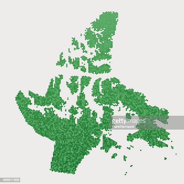 Nunavut Karte Grün Sechseck Muster