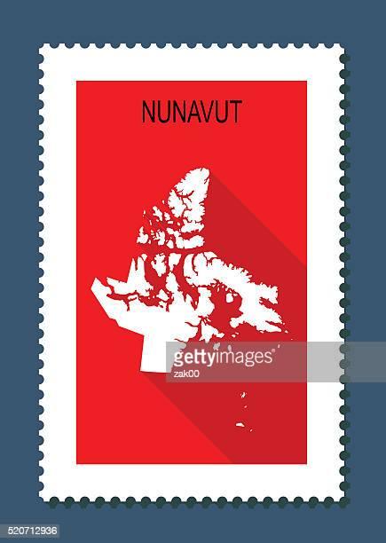 Nunavut Karte auf rotem Hintergrund, lange Schatten, Flat-Design, Stempel