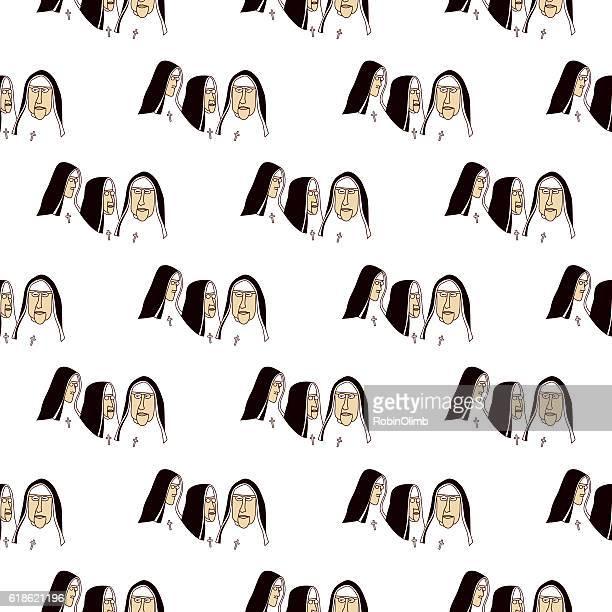 Nuns Seamless Pattern