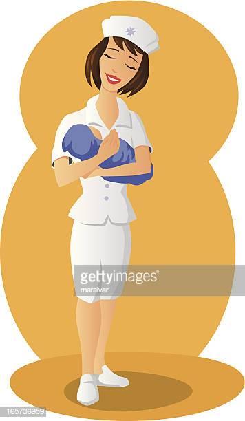 ilustraciones, imágenes clip art, dibujos animados e iconos de stock de enfermera de bebé - enfermera