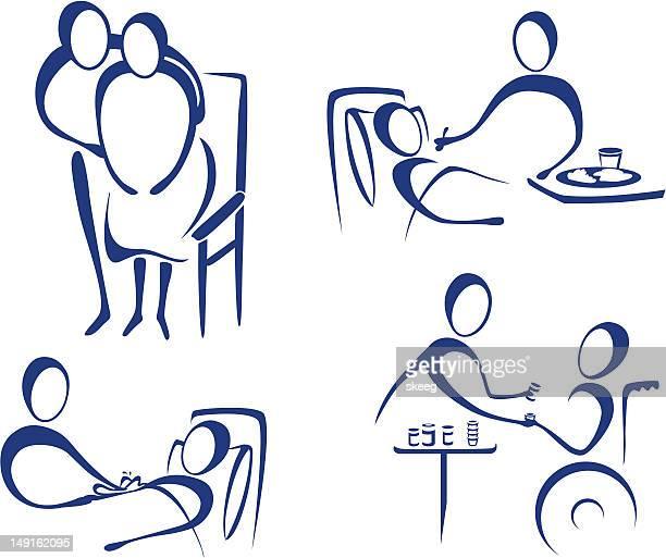 nurse care - sociology stock illustrations, clip art, cartoons, & icons
