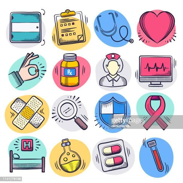 illustrazioni stock, clip art, cartoni animati e icone di tendenza di nurse caring & patient satisfaction liquid doodle style vector icon set - infermiera