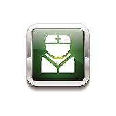 Nurse Green Vector Icon Button