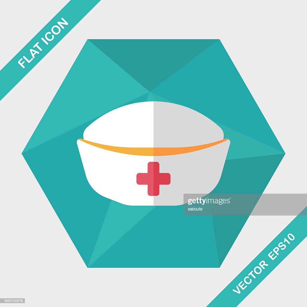nurse hat flat icon with long shadow,eps10