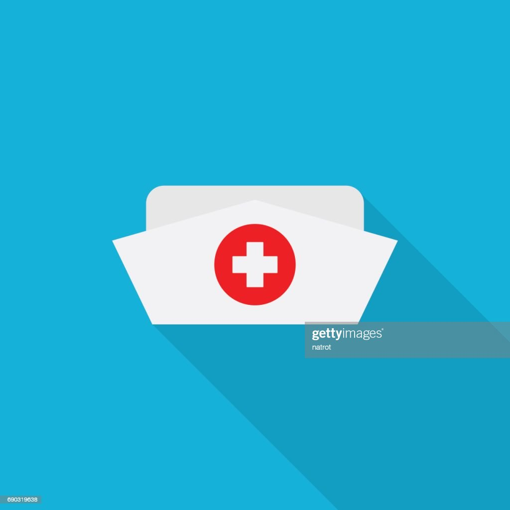 Nurse hat icon with long shadow on blue background, flat design style
