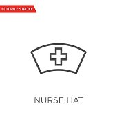 Nurse Hat Thin Line Vector Icon.