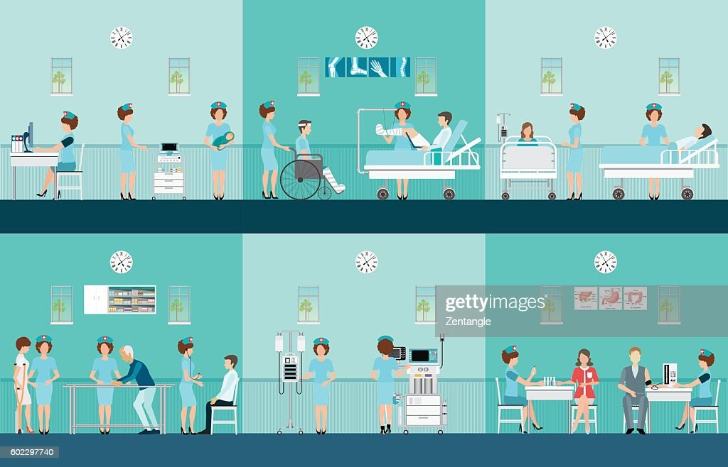 Nurse health care decorative icons set with patients