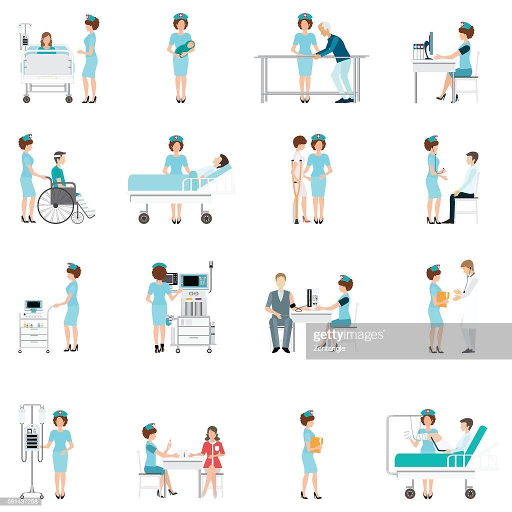 Nurse healthcare decorative icons set with patients.