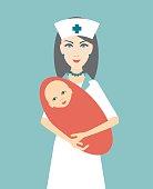 Nurse holding newborn child. Flat design. Vector.