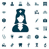 nurse icon, medical set on white background. Health Care Vector illustration